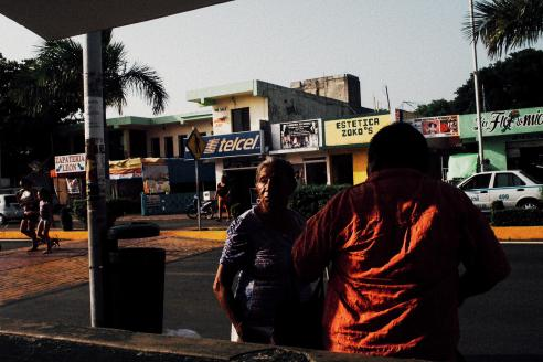 Women waiting for the bus in Playa del Carmen, Mexico.