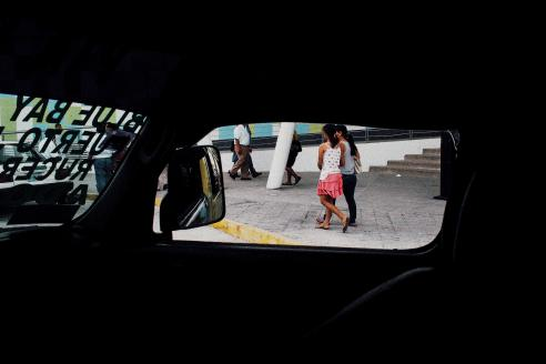 Through the window of a mini-van, on the way back from Isla Mujeres, Mexico.