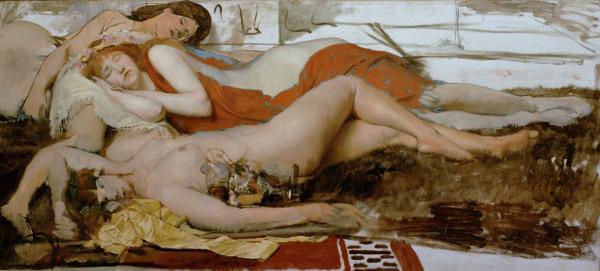 L.Alma-Tadema, Erschoepfte Maenaden - Alma-Tadema / Exhausted maenides / 1873 -